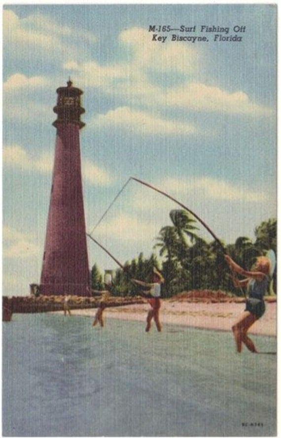 Vintage Florida Postcard - Surf Fishing at Key Biscayne (Unused)