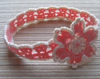 Instant Download #106 Crochet Pattern Coral and Cream Headband with a Flower