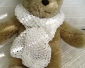 Teddy Bear Clothes,White Moss Stitch Handknitted Scarf