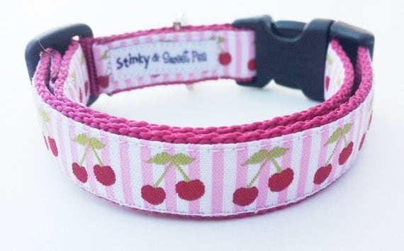 Sweet  As Cherry Pie - Dog Collar / Handmade / Pet Accessories / Adjustable