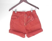 Levi's 550 Zip Fly Shorts Mid High Waist Jeans Orange Denim W 29 cut-off shorts Roll Up - BlueRoseRetro