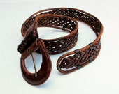 Boho Southwest Woven Braided Belt from Turkey Woven Leather size M adjustable fits most