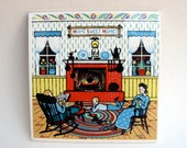 Home Sweet Home Pilkington Tile England 6 inch, Vintage Home Decor Tile