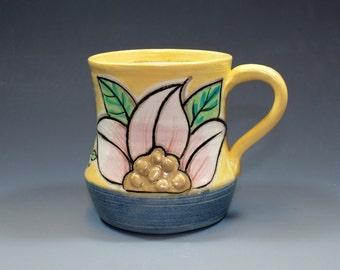 Handmade Pottery Mug, Hand Painted Yellow Floral Coffee Mug - SKU143-3