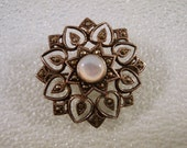 Vintage Sterling Silver Marcasite Mother of Pearl Pin Brooch