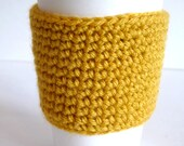 Crochet Reusable Coffee Sleeve in Mustard Yellow, Eco Friendly