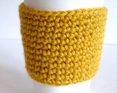 Crochet Reusable Coffee Sleeve in Mustard Yellow, Eco Friendly