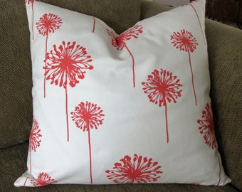 "One Decorative Pillow Cover, 18"" x 18"", Coral and White Cotton Duck"