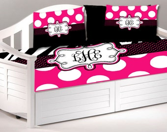 Daybed TWIN Custom Bedding and Shams- Zebra and Hot Pink Polka Dots Accent and Monogram