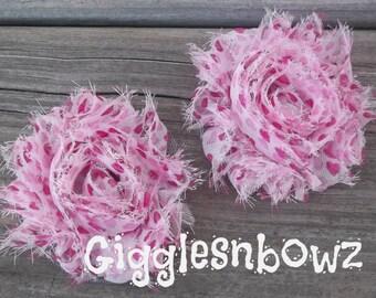 VaLeNTiNE'S HeARTS- 2 PiECE SeT Shabby Frayed Vintage look Chiffon Rosette Flowers