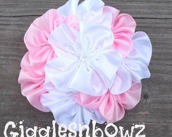 Single AMAZiNG Satin CLuSTeR Flower- SPRiNG Pink and White- 4 inch
