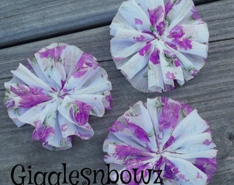 PuRPLE FLoRAL CHiFFoN TWIRL Flowers 2.5 inch- Set of 3