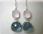 Blush Pink Earrings, Sapphire Earrings, Blue Earrings, Silver Earrings, Bridesmaid Earrings, Bridal Jewlery