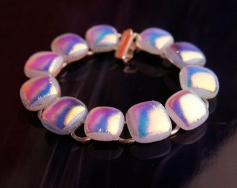 Handmade Dichroic Fused Glass Silver Bracelet