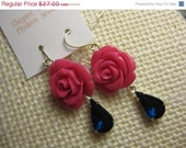 SALE: Studio Sale // Rose Earrings, Navy Blue and Hot Pink, Crystal Earrings, Vintage Crystal, Hot Pink and Navy, Bridesmaids Earrings