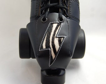 Leather Toe Guards with Zebra Print Lightning Bolts