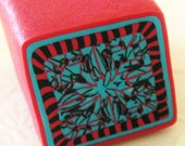 RAW Polymer Clay Cane - LARGE Handmade - Red, Turquoise, and Black - Make Clay Beads and Fashion Jewelry - bonnyblueflag