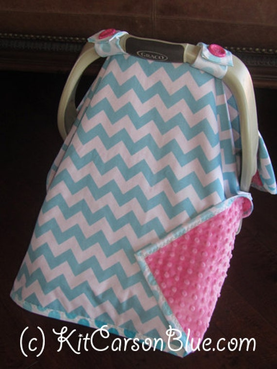 items similar to super cute baby car seat covers chevron in teal with pink minky on etsy. Black Bedroom Furniture Sets. Home Design Ideas