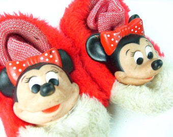Vintage Minnie Mouse Rubber Doll Heads Old Slippers Red