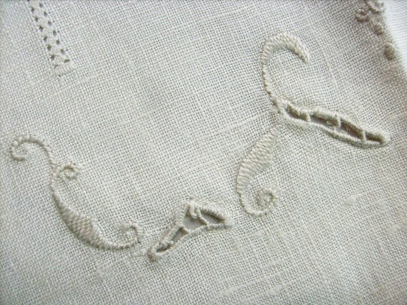 Vintage Linen, Table Runners, Cutwork, Set of Two, Off White