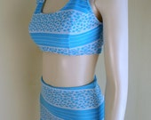 Vintage womens Two Piece Swimsuit  60s pin up swimwear in double knit