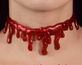 Sexy Vampire  Halloween Necklace- Creepy Cute- Red/Silver Glitter Blood choker Necklace Extra Drippy