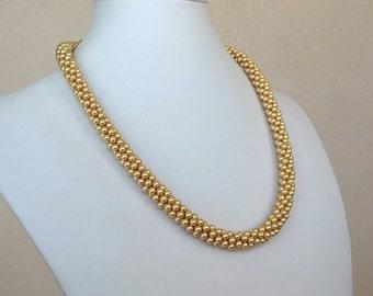 Golden Swarovski Crystal Pearls Necklace
