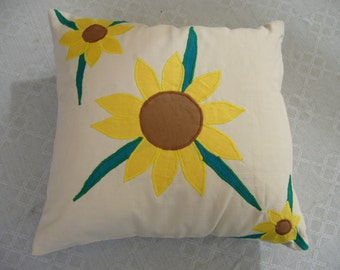 Sunflower Applique Linen Cushion Cover