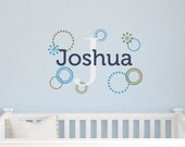 Boy Name Decal, Retro Circle Name Decal, Baby Boy Nursery Decals, Circle Wall Decal