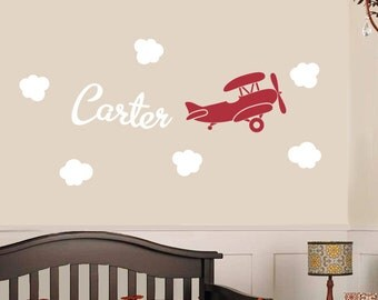 Airplane Name Decal Etsy - Personalized wall decals for nursery