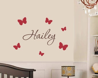 Butterfly Name Decal - Nursery Childrens Wall Decal - Personalized Vinyl Wall Decal - Baby Name