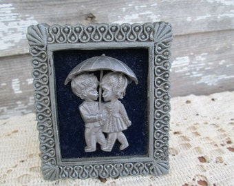 Vintage Pewter and velvet  Kissing kids in the rain miniature picture