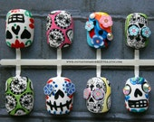 Sugar Skulls Fake Nails, Mexican Folk Art, False Nail Set, Dia De Los Muertos Press On Nails, Day Of The Dead Nails, Skull Short Fake Nails