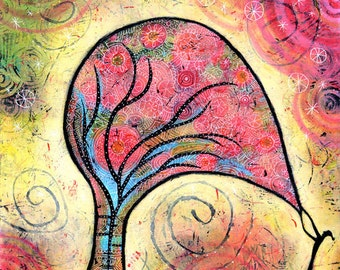 Colorful Whimsical Tree Canvas Print - One Harnessed the Wind