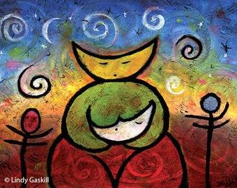 "Colorful Paper Print - 11"" x 14"" Moonheadmama Whimsical Nursery Art - ""She Whispered Twilight Dreams to Moonbaby"""
