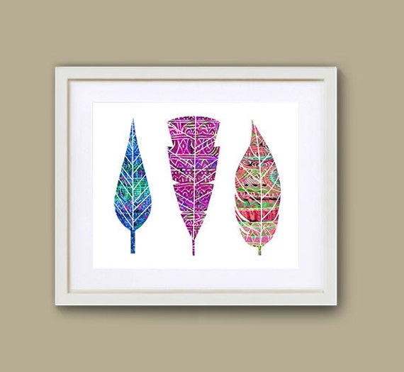 "8"" x 10"" Colorful Feather Art - digital download"
