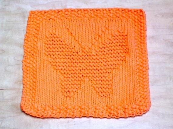Knitting Pattern Butterfly Dishcloth : Hand Knit Hot Orange Butterfly Dishcloth or Washcloth by ...