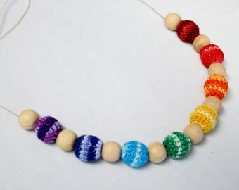 Rainbow teething and nursing necklace