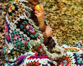 INSTANT DOWNLOAD PDF Vintage Crochet Pattern  for Simple Granny Square  Afghan Throw or Wrap Shawl