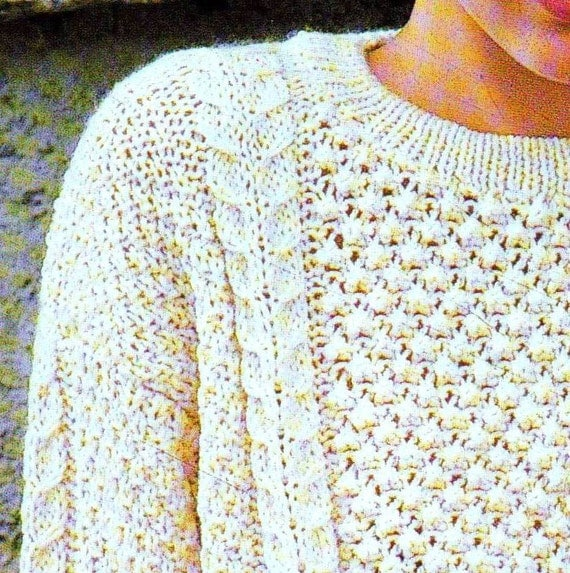 INSTANT DOWNLOAD PDF Vintage Knitting Pattern Aran Sweater Jumper Irish Moss ...