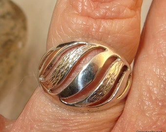 Denmark NE From Sterling Silver Modernist Ring Size 7 Designer Signed