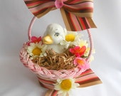 Lil Duck Easter Basket, Sweet & Petite Easter Decoration, VIntage Inspired Cottage Chic Holiday Decor