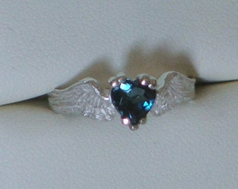 HEARTBEAT Remastered Sterling Silver and London Blue Topaz Angel Fairy Wings With a Heart-Ready to Ship