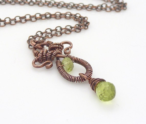 Copper gemstone necklace, Green Peridot necklace, Copper wire wrapped, Copper necklace, Handmade copper jewelry