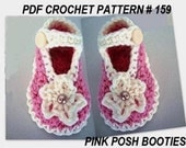 Crochet Pattern for Baby Booties,  PDF 159 -3 Sizes, newborn to 6 months baby shoes, crochet supplies, craft supplies
