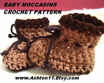 INSTANT DOWNLOAD Crochet Pattern PDF 35  Moccasin Style Baby Booties   Size 6 to 9 months