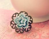 Trilyn - Light Grey Blue Sakura Flower Cabochon Ring on Brass filigree