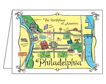 Philadelphia Map Full Color Note Card