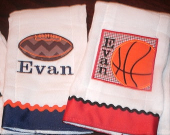 PERSONALIZED Burp cloth Set of 2 Burpies, MONOGRAM Sports Burp Cloth, Monogrammed Football Basketball Burp Cloth