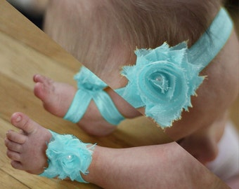 BOGO Light Turquoise Baby Barefoot Sandals and Headband Sale